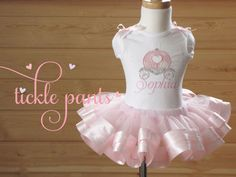 Cinderella Birthday Collection - PINK - Includes top, ribbon tutu and bow - Many color choices - EXCELLENT QUALITY