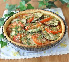 Recette de Tarte aux tomates, aubergines et chapelure persillée