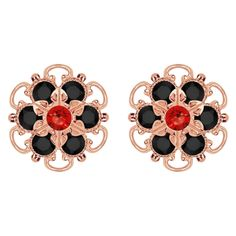 Lucia Costin Rose Gold Over Sterling Silver Red/ Black Earrings (Lucia Costin Silver Red Black Earrings) Women's
