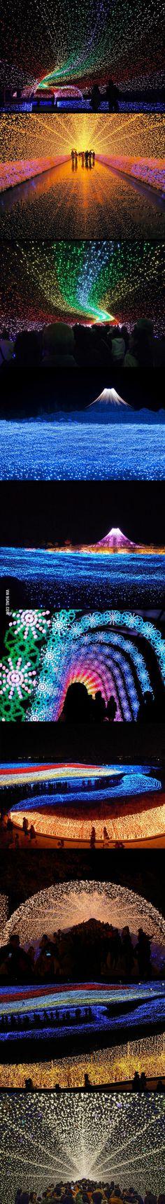 Winter light festival in japan, made from 7 million LEDs