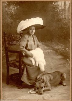 Antique Photo BEAUTY Lady w. Great Hat and Great Dane Dog Portrait Cabinet Card