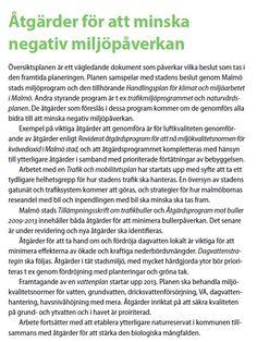 Åtgärder för att minska negativ #miljöpåverkan som de redovisas i Malmös MKB av dess översiktsplan http://malmo.se/download/18.5bb0a05f145db1bc43d6ac6/1401438610253/OP2012_MKB_antagen_140522.pdf