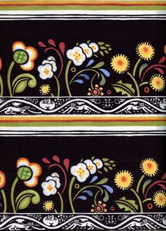 Bohemia Floral Border Stripe Julie Paschkis In by BywaterFabric