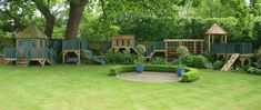 bespoke playhouse with extended activities, made to fit the garden perfectly