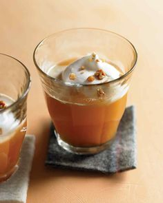 Warm Vanilla Apple Cider--With whipped cream and honeyed walnuts, this drink is like a dessert. And when made without the bourbon, it's perfect for children.