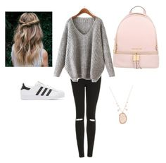 """""""outfit for school"""" by franpezzotti on Polyvore featuring Topshop, adidas Originals, Meira T and Michael Kors"""