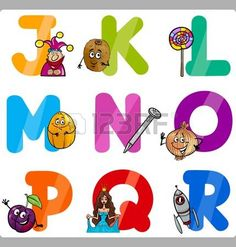 Cartoon Illustration of Funny Capital Letters Alphabet with Objects for Language and Vocabulary Education for Children from J to R photo
