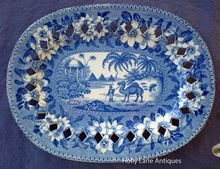 Early English Blue Transfer Ware Reticulated Oval Plate -Dromedary Pattern -  John Riley -  c.1802-1828 -  $360.00