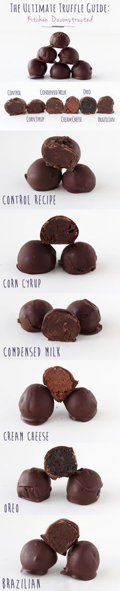 The Ultimate Chocolate Truffle Guide. One Truffle Recipe made Six Ways ~ Discover the variations in this Kitchen Deconstructed installment. Has recipe for tempered chocolate. Fudge, Do It Yourself Food, Homemade Candies, Homemade Truffles, Homeade Candy, Diy Truffles, Oreo Truffles Recipe, Cake Truffles, Think Food