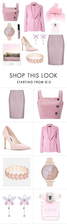 """""""Perfect in pink"""" by lucie-lebek ❤ liked on Polyvore featuring Polaroid, TEM, Emporio Armani, Miss Selfridge, Nine West, Brandon Maxwell, Avenue and Olivia Burton"""