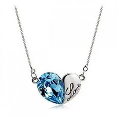 Jeulia Blue Love Heart Shaped Necklace - Necklaces - JEWELRY #Necklace #Holidays #Party #Coupons