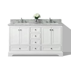 Ancerre Designs Audrey White Undermount Double Sink Birch Bathroom Vanity with Natural Marble Top (Common: 60-in x 22-in; Actual: 60-in x 22-in)