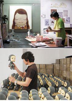 Yoshitomo Nara at work.