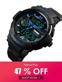 6bf910a30d9a SKMEI SKMEI Dual Display Digital Mens relojes cronógrafo reloj de alarma de  moda impermeable reloj deportivo es barato en NewChic SKMEI SKMEI Dual  Display ...