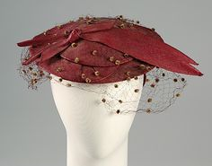 ~Circa 1938 Hat by Miss Sally Milgrim, American, via Brooklyn Museum Costume Collection at The Metropolitan Museum of Art~