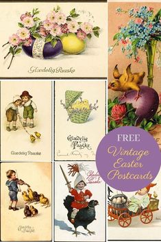 A cute collection of vintage Easter postcards to download. Some of the postcards have also been placed on a printable Easter favour box template.  #eastercard #vintagepostcards #easter