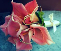 Wedding bouquet Pink Calla Lily Bouquet  Pink by EuphorbiaFloral, $100.00