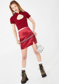 Delia's Cut Out Mandarin Collar Crop Top Sailor Baby, Pleated Tennis Skirt, Ribbed Crop Top, Cute Crop Tops, Cut Out Design, Dress With Boots, Mandarin Collar, 90s Fashion, Wide Leg Pants