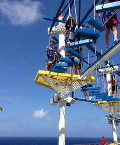 If WaterWorks, Camp Carnival and the Thrill Theater aren't enough for your kids, take 'em on the Sky Course: a ropes course situated under the shadow of Carnival's iconic whale tail on top of Deck 11. Description from kludgymom.com. I searched for this on bing.com/images