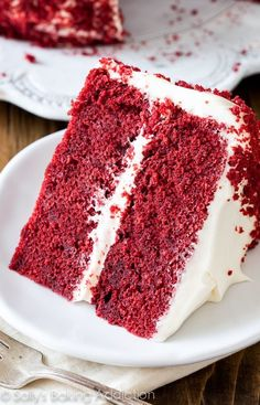 I love this Red Velvet Layer Cake recipe! Learn exactly how to make it, plus red velvet cupcakes