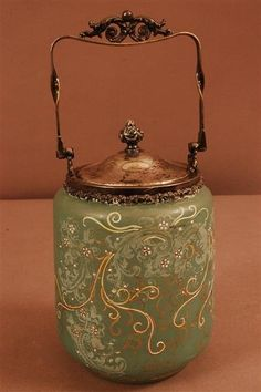 Victorian Biscuit Jars | 181: Victorian Green Stain Glass Biscuit Jar : Lot 181
