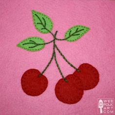 Cute Cherry Cluster Applique Block from Wee Folk Art...<3 #Cherries #cherryapplique