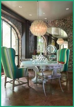 Rooms of Inspiration: A Lovely Eclectic Dining Room...Love the idea of large wingbacks in breakfast area.