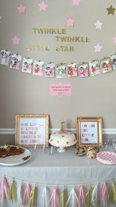 Twinkle, twinkle little star pink and gold first birthday.