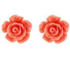 Dark peach carved flower earrings found on Polyvore