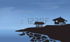 cabane de plage: Morning with hut and rocks at the beach at the night