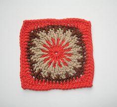 Raspberry medallion 6-inch square  . . . .   ღTrish W ~ http://www.pinterest.com/trishw/  . . . .   #crochet #motif