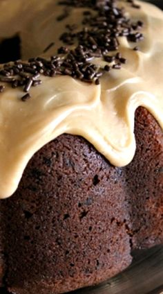 Chocolate Banana Bread Cake with Peanut Butter Glaze