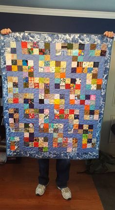"""A stone step.  Made with 2 1/2"""" scrap squares and 2 1/2' x 6 1/2"""" blue strips pieces."""