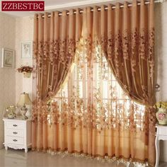Vogue Fl Tulle Room Door Window Curtain Fabric Drape Panel Sheer Scarf Valances Curtains For Living
