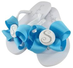 d15580c88badc Turquoise   Silver Glitter Bow Flip Flops- Personalized with Monogram  Initial in flats or wedges. Great Bridesmaid Shoe Gift. Many Colors