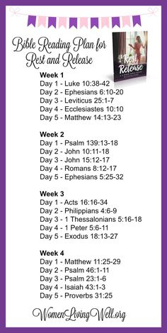 Need some rest?  Need to release your burdens? Here's the Bible Reading Plan - this is going to bless you! Come join us!  Free video series included --plus printable resources.
