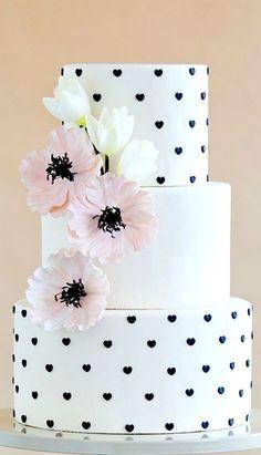 White Black Heart Pink Poppy Wedding Cake