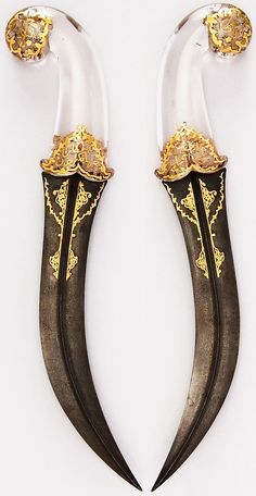 Persian jambiya dagger, 18th to 19th century, steel, crystal, gold, H. 13 3/16 in. (33.5 cm); H. of blade 8 3/4 in. (22.2 cm); W. 2 1/2 in. (6.4 cm); Wt. 11.6 oz. (328.9 g), Met Museum, Bequest of George C. Stone, 1935.