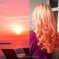 Pastel Peach Orange Sunset. Hair Color Inspiration by Rachel La'Roux hotonbeauty.com