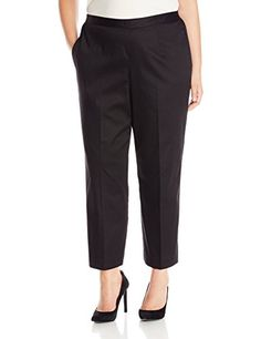 Alfred Dunner Womens Plus Size Clean Front Back Elastic Slim Leg Pant Black 20W ** Want to know more, click on the image.