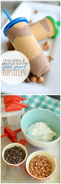 Cool off this summer with healthy and fun Chocolate and Peanut Butter Greek Yogurt Popsicles! They are a tasty treat, dessert, or even breakfast!: