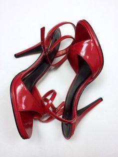 NEW NWOB $58 Ellie 14 Red Patent Ankle Strap Stiletto Pumps Heels PINUP Pin Up #Ellie #Stilettos