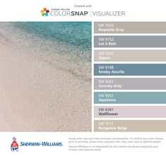 Curaçao beach for wall color inspiration; paint, Sherwin-Williams, requisite gray, let it rain, alpaca, smoky azurite, swanky gray, aquitaine, wallflower, bungalow beige
