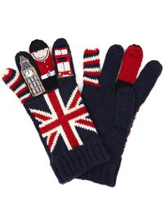 """union jack gloves (I love the look of things that use """"London"""" images) I especially like walking through the airports in London, and seeing all the adorable souvenirs with their classic red and navy."""
