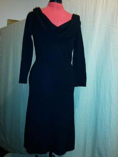 BUY IT NOW! Sweater Dress Wool & Cashmere Drape Neck Fitted Cotton Viola Size Small Black 3  | eBay