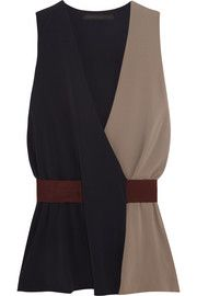 Victoria Beckham Denim Draped color-block crepe top