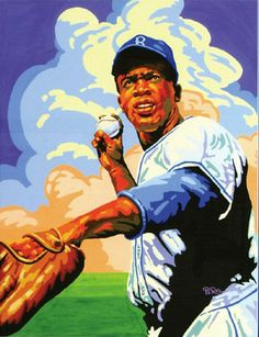 "Jackie Robinson, Brooklyn Dodgers by Dick Perez, 1997. Gouache on board 18""x24"""