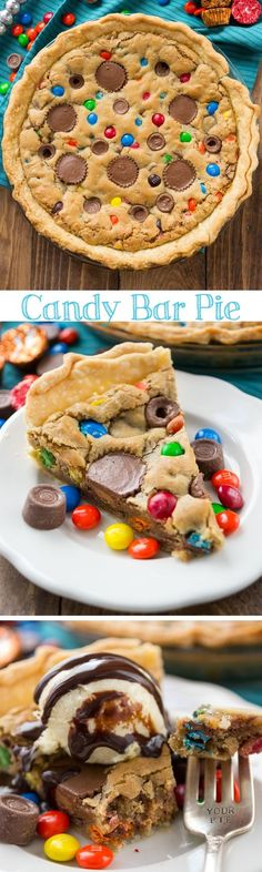 Candy Bar Pie - you must make this blondie pie! It's filled with peanut butter cups Rolos and MandMs!