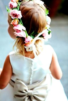 Flower girl's flower crown Toni Kami ❀Flower ❀ Girls❀ Corona halo wedding hair flowers pink roses