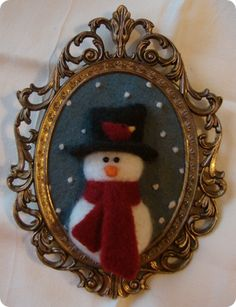 Needle Felted Snowman in Picture Frame